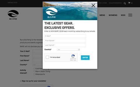 Screenshot of Signup Page baresports.com - NEWSLETTER - captured Sept. 29, 2017
