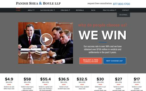 Screenshot of Home Page psblaw.com - Los Angeles Personal Injury Attorneys | California Trial Lawyers - captured Oct. 1, 2014