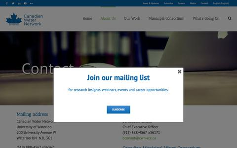 Screenshot of Contact Page cwn-rce.ca - Contact – Canadian Water Network - captured Nov. 9, 2018
