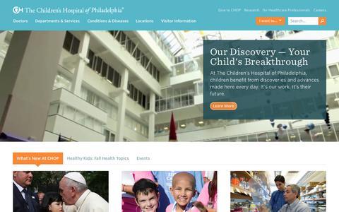 Screenshot of Home Page chop.edu - The Children's Hospital of Philadelphia - captured Sept. 18, 2015