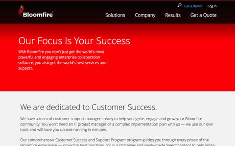Screenshot of Support Page bloomfire.com - Customer Success & Support | Bloomfire - captured Oct. 28, 2014