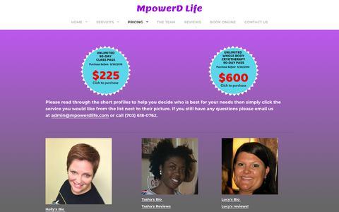 Screenshot of Pricing Page mpowerdmassageforathletes.com - MpowerD Massage Services Pricing List - MpowerD Life - captured Sept. 21, 2018