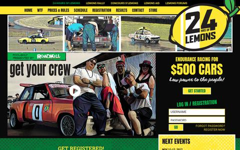 Screenshot of Home Page 24hoursoflemons.com - 24 Hours of LEMONS – Endurance Racing for $500 Cars - captured Oct. 30, 2017