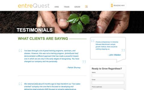 Screenshot of Testimonials Page entrequest.com - EntreQuest - captured Dec. 14, 2015