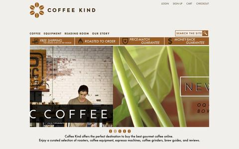 Screenshot of Home Page Support Page coffeekind.com - Buy Coffee Online from Award-Winning Specialty Coffee Roasters | Coffee Kind - captured Sept. 25, 2014