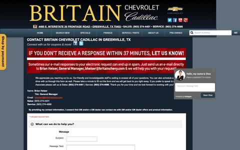 Screenshot of About Page Contact Page britainchevy.com - Britain Chevrolet Cadillac - Contact Us for Questions - captured March 31, 2016