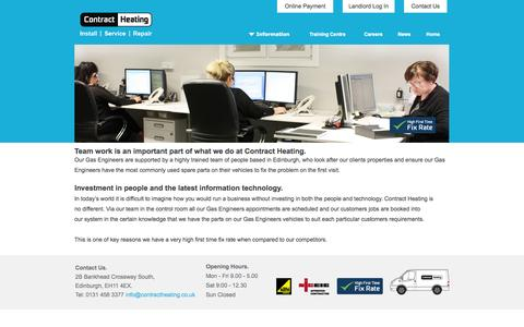 Screenshot of Support Page contractheating.co.uk captured Oct. 3, 2014