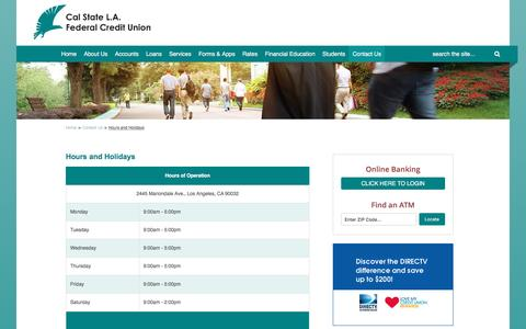Screenshot of Hours Page calstatela-fcu.org - Hours and Holidays - captured Oct. 16, 2016