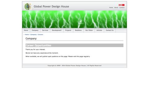 Screenshot of Jobs Page globalpowerdesign.com - Global Power Design - captured Oct. 1, 2014