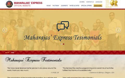 Screenshot of Testimonials Page the-maharajas.com - Maharajas Express Testimonials - captured Oct. 20, 2015