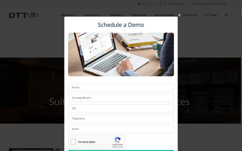 Screenshot of Services Page dttusa.com - DTT Suite of Services - captured Aug. 13, 2018