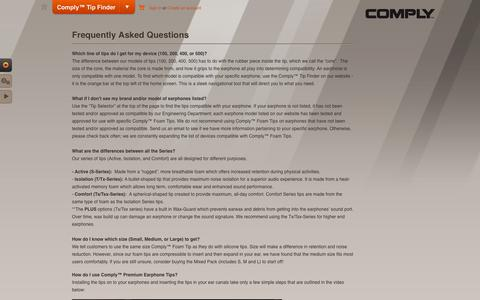 Screenshot of FAQ Page complyfoam.com - Frequently Asked Questions (FAQ) about Comply™ Foam Tips - captured Sept. 19, 2014