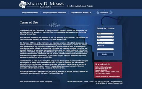 Screenshot of Terms Page mimms.org - Malon D. Mimms - captured Oct. 4, 2014