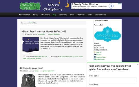 Screenshot of Blog glutenfreeireland.com - Coeliac News from Gluten Free Ireland - captured Nov. 11, 2016