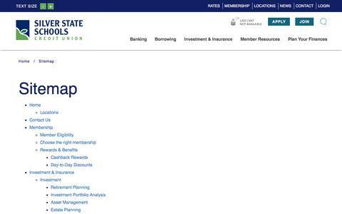 Screenshot of Site Map Page silverstatecu.com - Silver State Schools Credit Union : Sitemap - captured Feb. 1, 2018