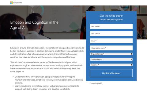 Screenshot of Landing Page microsoft.com - Emotion and Cognition in the Age of AI   Microsoft - captured April 17, 2019
