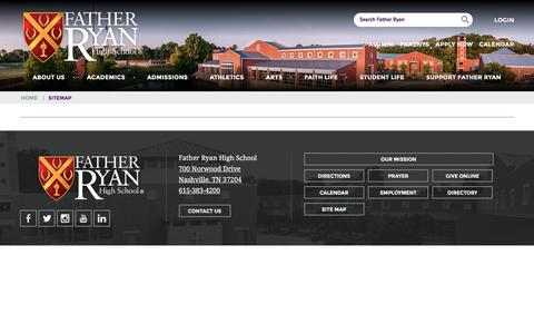 Screenshot of Site Map Page fatherryan.org - Sitemap   Father Ryan High School - captured Sept. 12, 2016