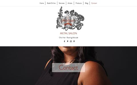 Screenshot of Contact Page metalsalon.com - Metal Salon | Contact - captured Oct. 18, 2017