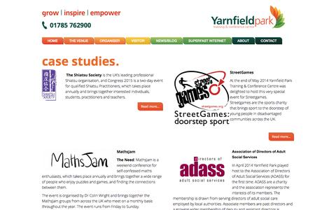 Screenshot of Case Studies Page yarnfieldpark.com - UK Conference Events & Training - Case Studies at Yarnfield Park - captured Jan. 22, 2016