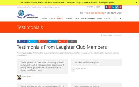 Screenshot of Testimonials Page worldlaughtertour.com - Testimonials From Laughter Club Members   World Laughter Tour - captured May 22, 2016
