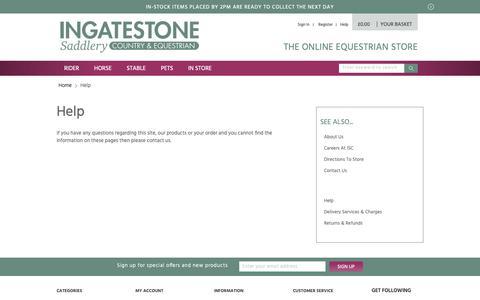 Screenshot of Support Page ingatestonesaddlery.co.uk - Help - captured Nov. 14, 2018
