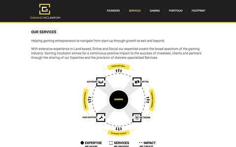 Screenshot of Services Page gamingincubator.com - Gaming Incubator | Advisory, Hub Support, Capital & Networked Services for Start-Ups | Gaming Incubator - captured Dec. 7, 2015