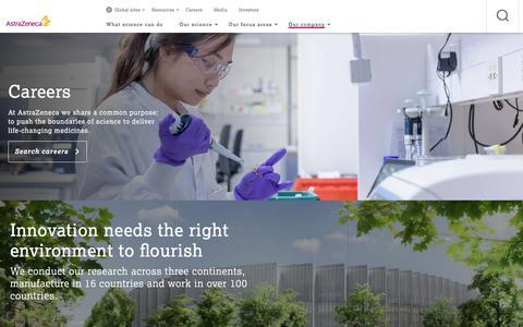 Screenshot of Jobs Page astrazeneca.com - Careers - Our Company - AstraZeneca - captured Dec. 2, 2015