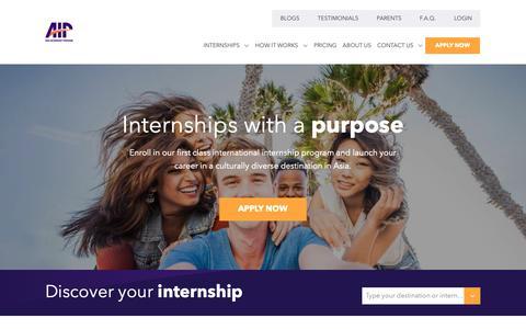 Screenshot of Home Page internsinasia.com - Asia Internship Program | Customized internships in Asia - captured May 5, 2019