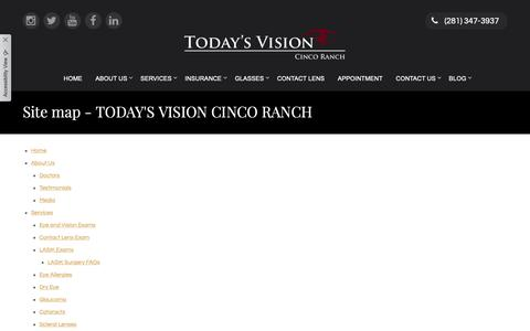 Screenshot of Site Map Page tvcincoranch.com - Site map - TODAY'S VISION CINCO RANCH - captured Oct. 19, 2018