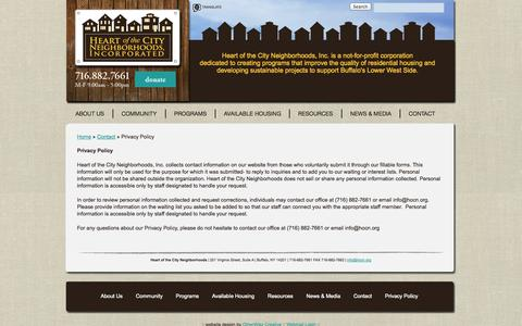 Screenshot of Privacy Page hocn.org - Privacy Policy - Heart of the City Neighborhoods, Inc. - captured Oct. 2, 2014