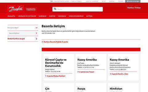 Screenshot of Press Page danfoss.com.tr - Basınlailetişim - captured Sept. 26, 2018