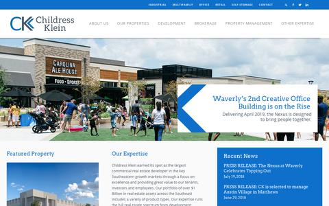 Screenshot of Home Page childressklein.com - Commercial Real Estate Brokers | Properties for Rent | Childress Klein - captured Sept. 27, 2018