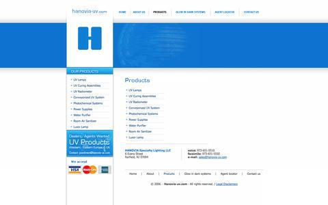 Screenshot of Products Page hanovia-uv.com - hanovia-uv.com - captured Oct. 1, 2014