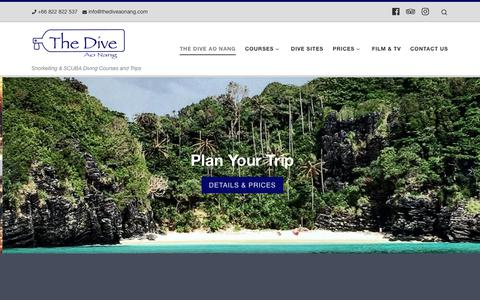 Screenshot of Home Page thediveaonang.com - The Dive Ao Nang - The Dive Ao Nang - captured Nov. 18, 2018
