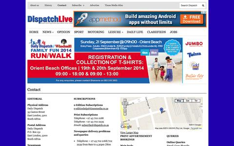 Screenshot of Contact Page dispatchlive.co.za - Contact | DispatchLIVE - captured Sept. 22, 2014