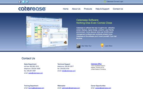 Screenshot of Contact Page caterease.com - Catering Software, Event Management Software for professionals - Caterease: Contact Us - captured Sept. 24, 2014