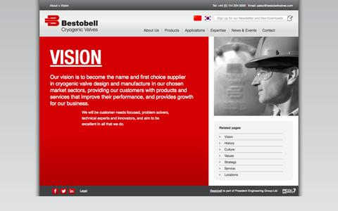 Screenshot of About Page bestobellvalves.com - Vision - World experts in Cryogenic Valve design and manufacture   Bestobell - captured Oct. 5, 2014