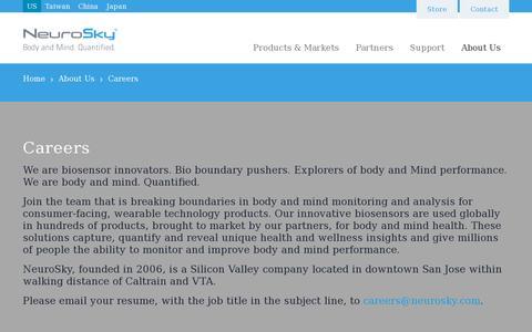 Screenshot of Jobs Page neurosky.com - Careers | NeuroSky - captured July 21, 2014