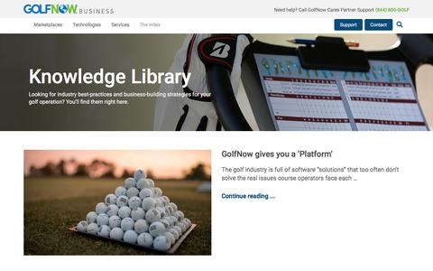 Screenshot of Press Page golfnow.com - Knowledge Library Archives - GolfNow Business GolfNow Business - captured Feb. 3, 2018