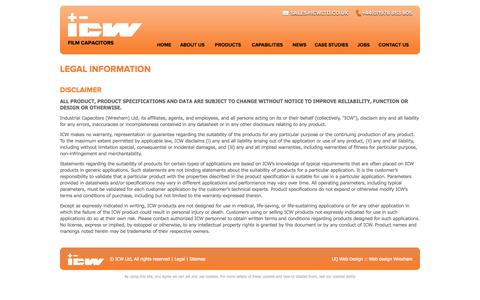 Screenshot of Terms Page icwltd.co.uk - ICW Film Capacitors Legal Information - captured Oct. 3, 2014