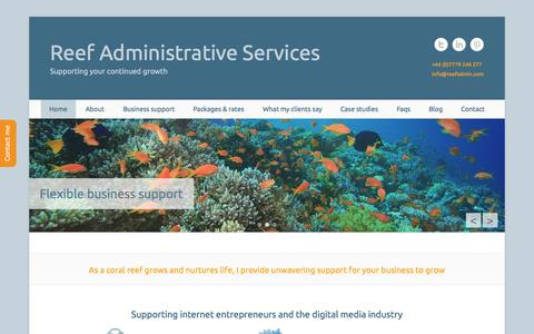 Screenshot of Home Page Menu Page reefadmin.com - Reef Administrative Services | Supporting your continued growth - captured Oct. 9, 2014