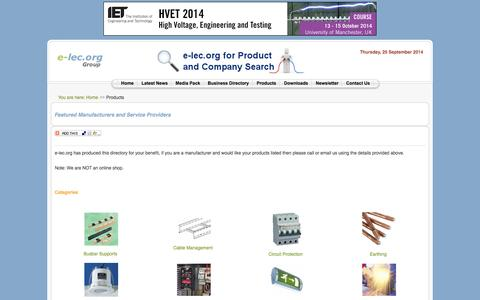 Screenshot of Products Page e-lec.org - The Electrical Industry Product Directory - Electrical Industry Installation News and Information Portal: e-lec.org - captured Sept. 25, 2014