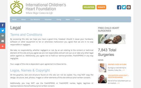 Screenshot of Terms Page babyheart.org - Legal - International Children's Heart Foundation - captured Oct. 15, 2017