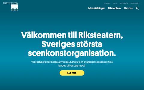 Screenshot of Home Page riksteatern.se - Start | Riksteatern - captured Oct. 19, 2018