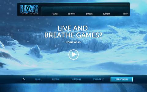Screenshot of Jobs Page blizzard.com - Blizzard Entertainment:Career Opportunities - captured Sept. 18, 2014
