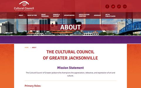 Screenshot of About Page culturalcouncil.org - About  |  Cultural Council of Greater Jacksonville - captured Oct. 3, 2014
