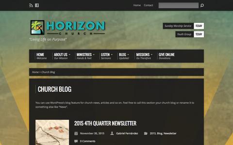 Screenshot of Blog horizonjaco.org - Church Blog - Horizon Church Jaco - captured Jan. 31, 2016