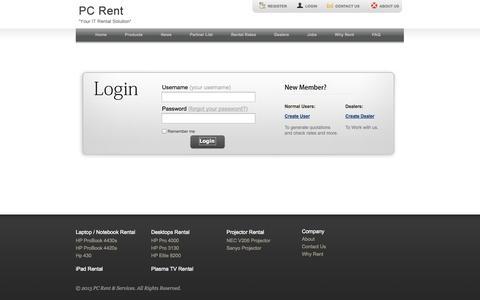 Screenshot of Login Page pcrent.com.my - PC Rent & Services - captured Oct. 1, 2014