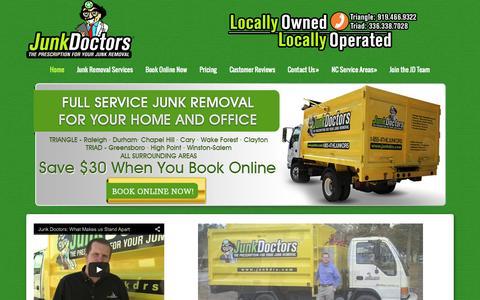 Screenshot of Home Page junkdrs.com - Junk Doctors - North Carolina Junk Removal Pros - captured Aug. 5, 2015