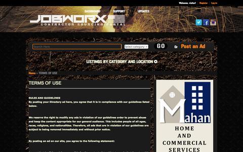 Screenshot of Terms Page jobworx.us - TERMS OF USE | JOBWORX - captured Oct. 4, 2014